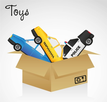 open cardboard box whit car toys Vector
