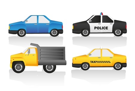 Car kit includes truck, normal car, taxi and police car Vector