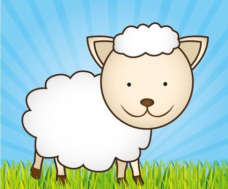 cute cartoon sheep with grass and sky