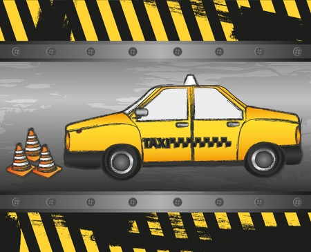 Taxi grunge background with cone signaling