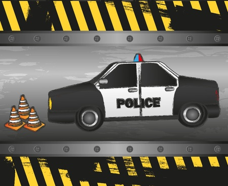 police car on grunge background Vector
