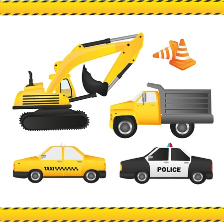Car set contains backhoe, dump truck, taxi, police car and traffic cones