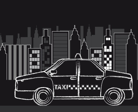 fare: black and white city with grunge taxi.   Illustration