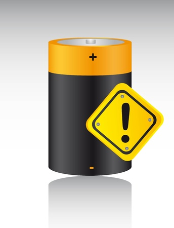 battery  with warning sign with shadow.   Vector