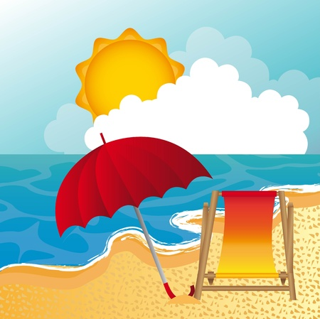 beach with umbrella and chair background.  Vector