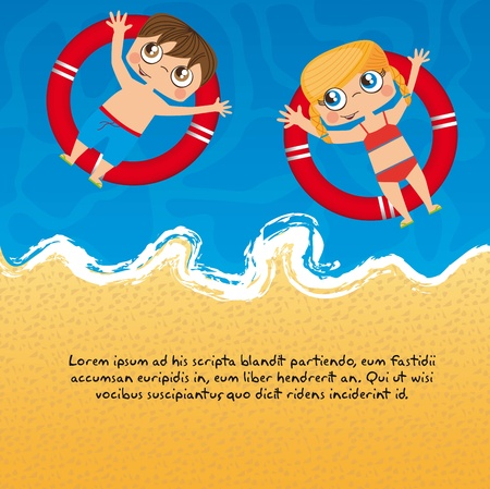 children over sea with floats, background.  Vector