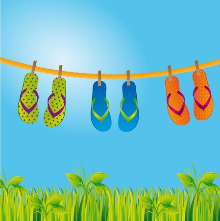 flip flops over landscape with grass and sky.  Vector