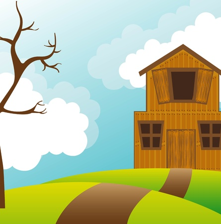 landscape with barn and tree over sky.  Vector