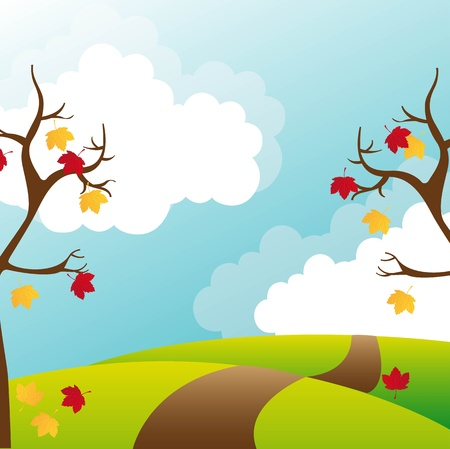 fall landscape: trees autumn with leaves, cute landscape.