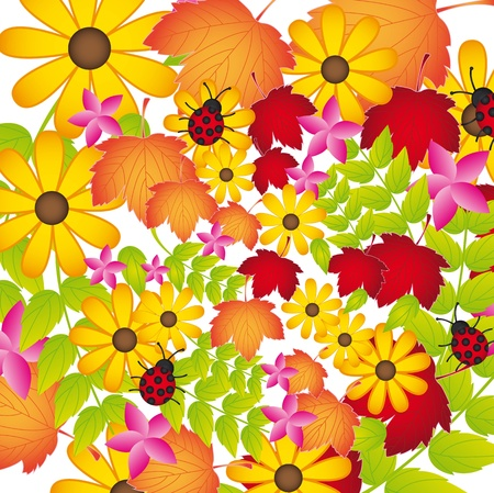 flowers and leaves with ladybug background. Stock Vector - 13339268