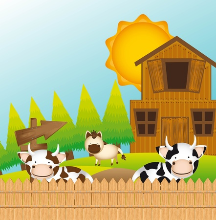 cattle grazing: cute farm with cow and horse, cute landscape.
