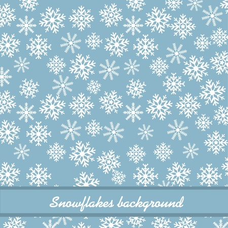 backkground: white snowflakes over blue background.