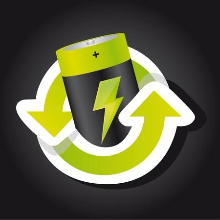 pilas: la bater�a con el signo de reciclaje sobre fondo negro.