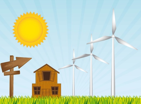 cute landscape with farn and wind turbine.   Vector