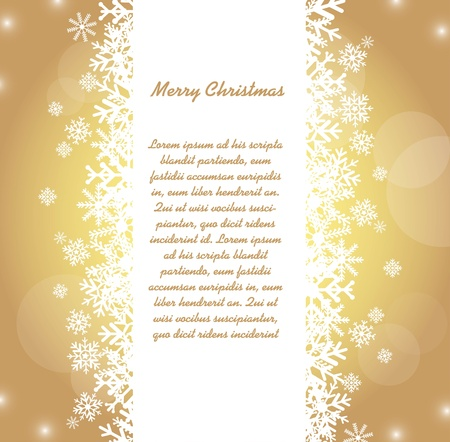 snowflakes with space for copy over gold background.  Vector