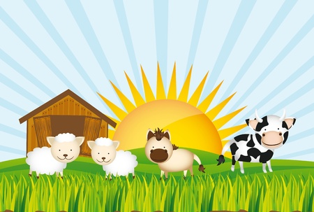 farm with cow, horse and sheeps over grass.   Stock Vector - 13338565
