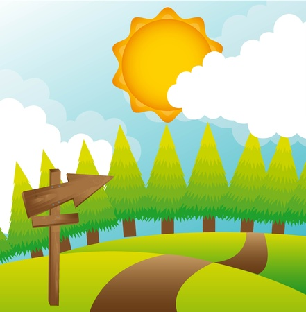 summer landscape with trees and sun. Stock Vector - 13338288