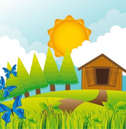 mountain meadow: paisaje de verano con el granero y mariposas.