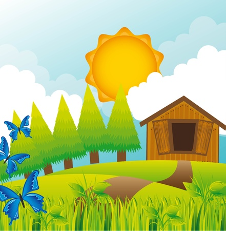 summer landscape with barn and butterflies.   Vector