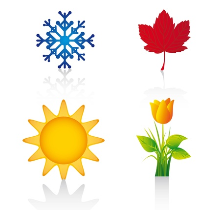 hot and cold: four season elements over white background.