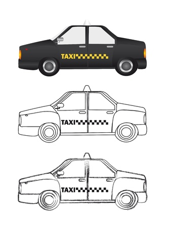black taxi and silhouette with grunge over white background. Vector