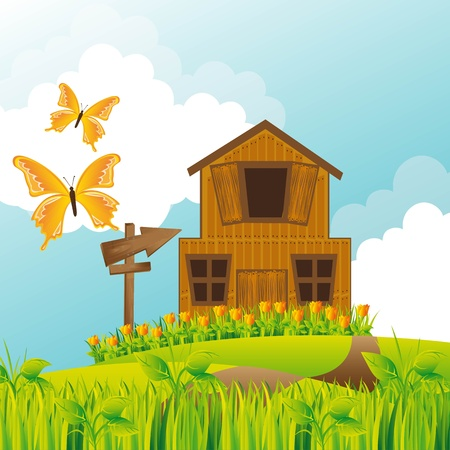 farm over summer landscape with butterflies.  Vector