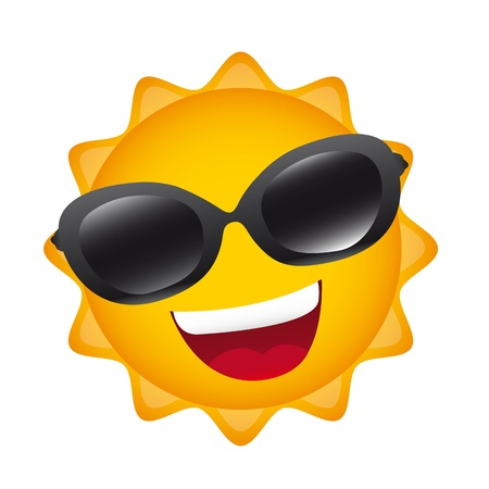 warm up: cartoon sun with sunglasses isolated over white background. Illustration