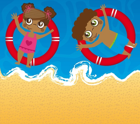children over sea with floats. Stock Vector - 13338851