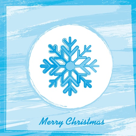 grunge snowflake over blue background. Stock Vector - 13339261