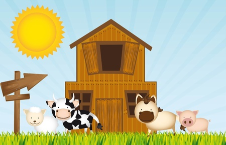 farm with animals and barn over grass. Stock Vector - 13338844