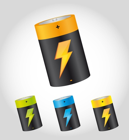 batteries with bolt over gray background.  Vector