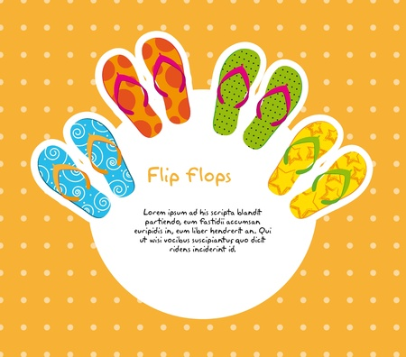 cute flip flops with space for copy over orange background. Vector