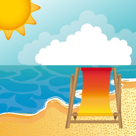 landscape beach with chair background.   Vector