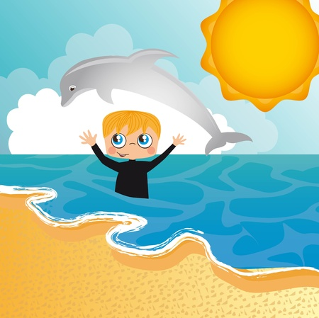 boy with dolphin into sea background.  Vector