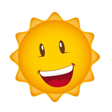 sizzle: happy cartoon sun isolated over white background.