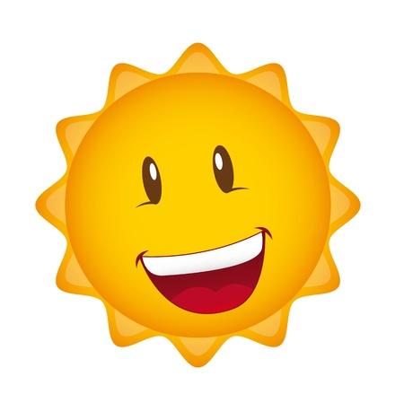 happy cartoon sun isolated over white background. Stock Vector - 13331847