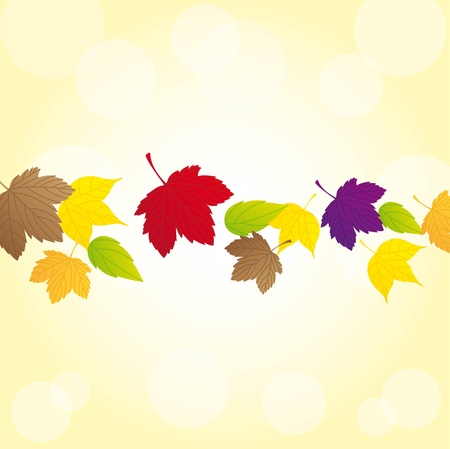 autumn leaves over yellow background.  Stock Vector - 13338380