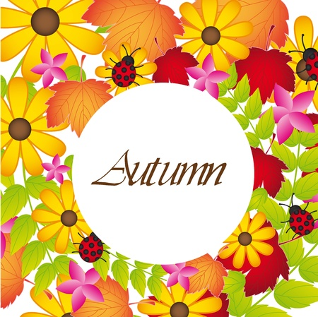 autumen leaves and flowers background.  Stock Vector - 13338852