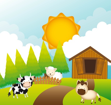 farm with animals over landscape.  Stock Vector - 13338855