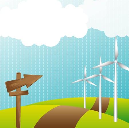 wind turbine: paysage avec �olienne et panneau en bois. Illustration