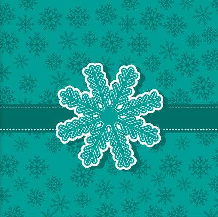 cute snowflake over aquamarine background.  Vector