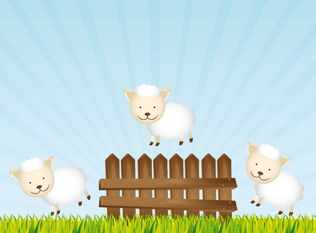 cute sheeps over landscape background.  Stock Vector - 13338845