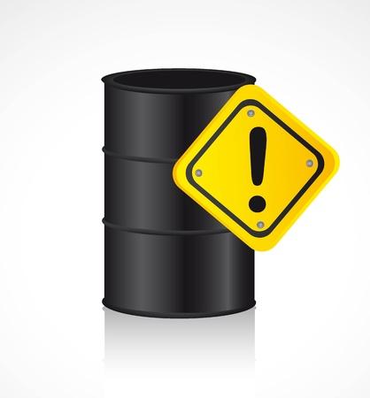 gal�n: gal�n de combustible con el fondo de una se�al de advertencia.