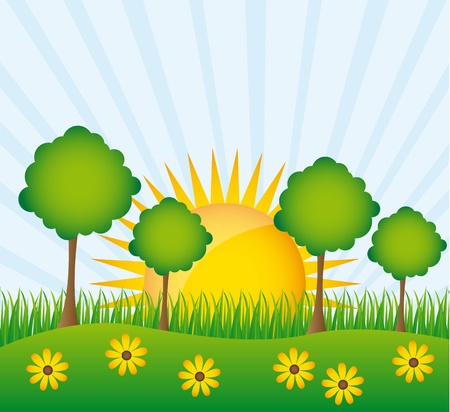 beautiful landscape with trees and flower background.   Stock Vector - 13338291