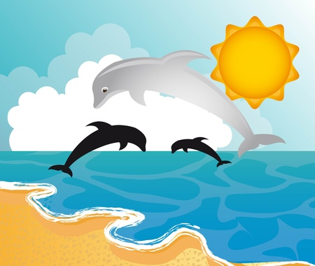 beach with dolphins with sun Stock Vector - 13338363