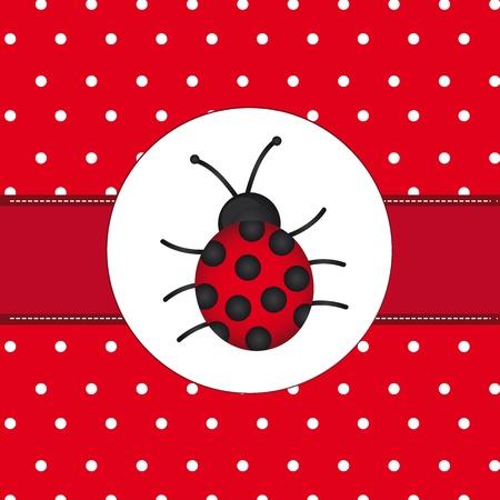 mariquitas: la mariquita sobre la tarjeta roja de lunares, de fondo. Vectores