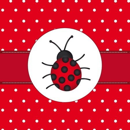 ladybird: ladybug over red card with dots, background.