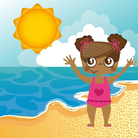 girl in the beach over sand, background.   Vector