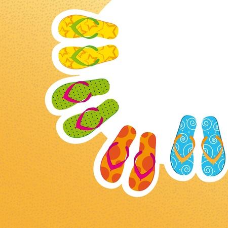 flip flop: cute flip flops with space for copy, background.  Illustration