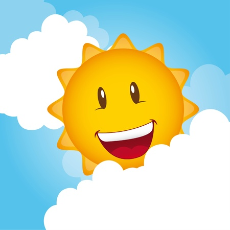 smiling sun: cartoon sun with clouds, background.